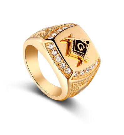 Gold plated Masonic Crystal ring Men jewelry Hip-hop punk finger rings