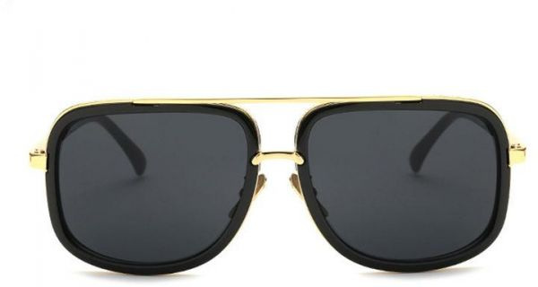 a790103e5f17 Large Square Aviator Metal Bar Designer Men Women Retro Fashion Sunglasses  with Pouch Gold Black