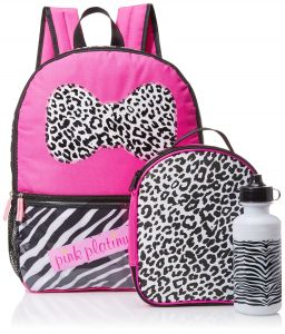 29d63afeef Pink Platinum Girls  Zebra Stripes 16 Inch Backpack with Lunch Kit and  Water Bottle