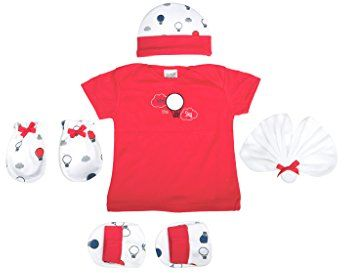 Mee Mee Pampering Gift Set for New Born (5 Pieces, Red)