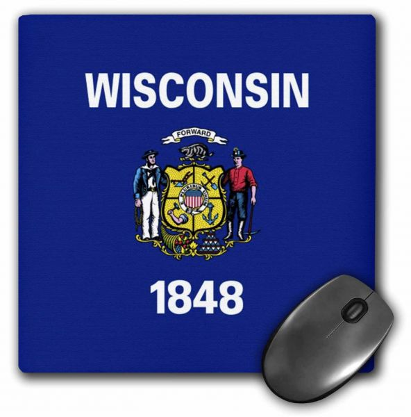 3dRose LLC 8 x 8 x 0.25 Inches State Flag of Wisconsin (PD-US) Mouse Pad (mp_57043_1)