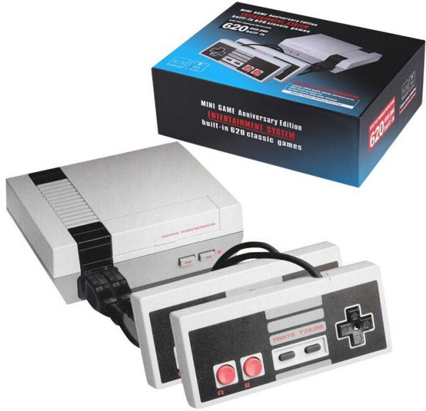 Retro Classic Game Console NES TV 8-Bit Built-in 620 Games, 2 Controllers Included