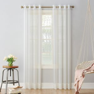918 Emily Sheer Voile Grommet Curtain Panel 59 X 95 Eggshell White