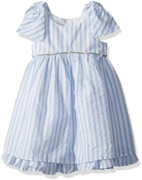 Buy Laura Ashley London Little Girls Bow Sleeve Party Dress Blue