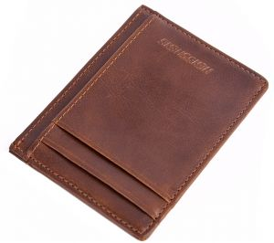 card package leather credit card holder id business card case wallet slim men short wallets purse brown qb46 1 - Personalized Business Card Case