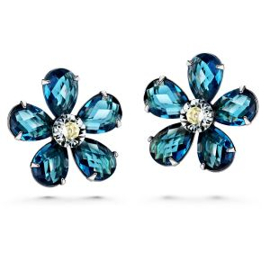 JOUDOO 16K Gold Flower Blue Crystal Platinum Earrings with Screw Back and Post Stud Earrings (platinum-plated)