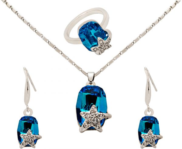 White Gold Plated Metal Alloy Crystals Ring, Earring & Pendant Set - 3 Pieces