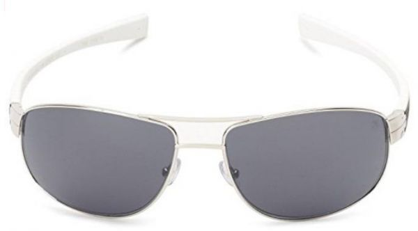 180eebed9fb Tag Heuer Sunglasses Outdoor Silver Metal Front Square Shape And Black    White Rubber Temple With Grey Lenses