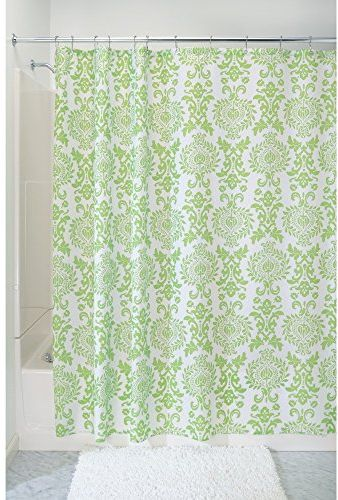 InterDesign Damask Fabric Shower Curtain Screen With Bold Pattern Design Polyester Lime Green 183 X Cm