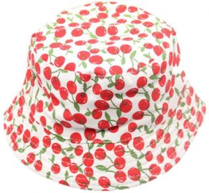 f4e9d4f635d Baby Bucket Sun Protection Hat Breathable Cotton Kids Sun Hat Red Cherry  for 2-6 Years Baby