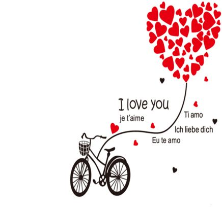Bike Tied Big Flying Red Heart Written I Love You Sayings Quotes