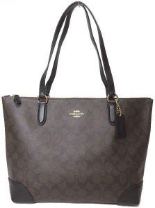 09224d681c Coach F29208 IMAA8 zip top tote in signature canvas brown black imitation  gold