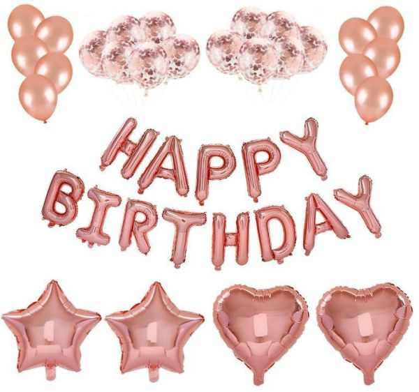 Rose Gold Happy Birthday Balloons Party Decorations Supplies HAPPY BIRTHDAY Letters BannerRose BalloonsRose Confetti