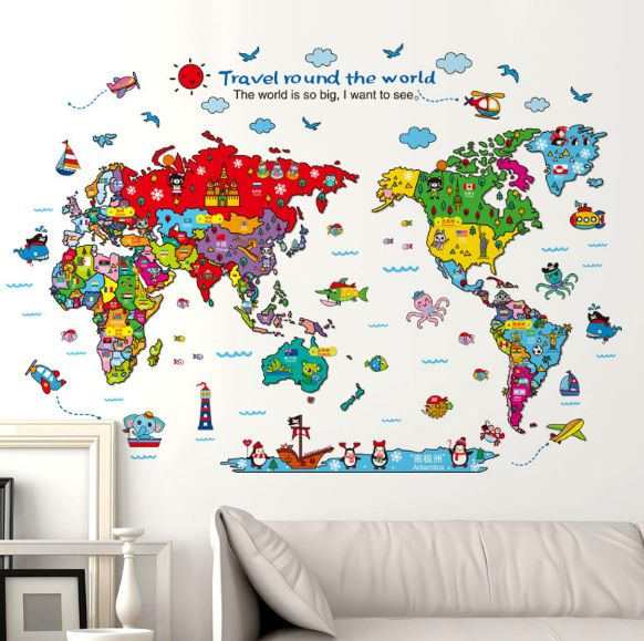 colorful travel world map wall stickers animal attractions
