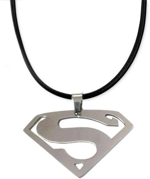 Buy Superman Logo Stainless Steel Pendant With Real Leather Cord