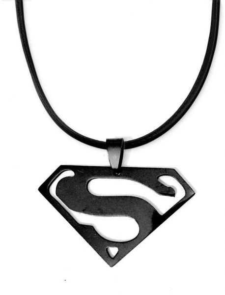 Souq Black Superman Logo Stainless Steel Pendant With Real Leather