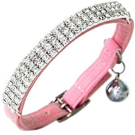 Adjustable Cat Collar Small Dog Collar with Bell Rhinestone Soft Velvet Pet Cat or Small Dog Necklace Pink