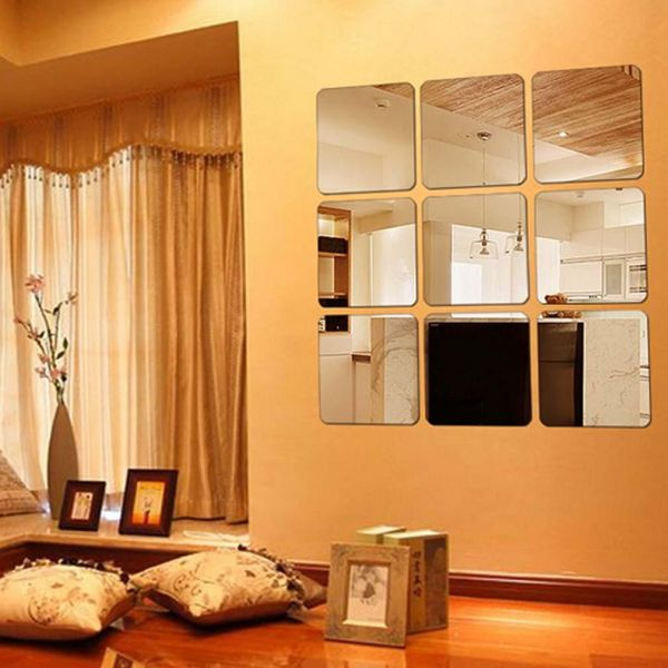 9 Pieces Square Mirror Tile Wall Stickers Set Mosaic Wall Paper