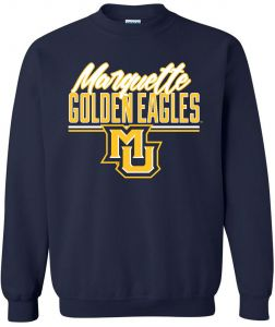 X-Large Sport Gray Marquette Golden Eagles Round 50//50 Blended 8 oz Crewneck Sweatshirt