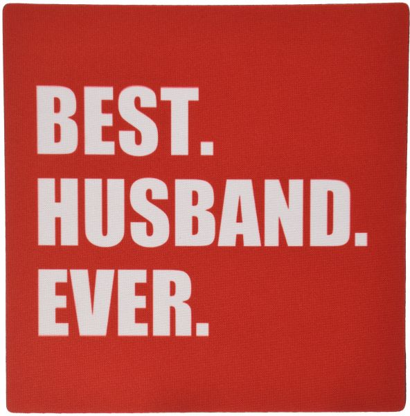 3dRose LLC 8 x 8 x 0.25 Inches Mouse Pad, Red Best Husband Ever - White Text Anniversary Romantic Gift For Him - (mp_179724_1)