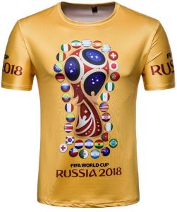 767036da Russia World Cup Top 32 Football Team National flag printed Personality  Short Sleeve Souvenir T-shirts-L