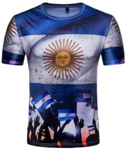 db2743ef7b2 Russia World Cup Argentina National Flag printed Personality Short Sleeve  fans Souvenir T-shirts-L