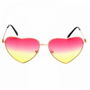 d66ae68695 Heart Sunglasses Thin Metal Frame Lovely Aviator Style for Women Pink Yellow