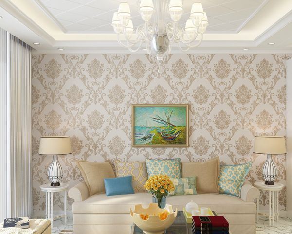 European Classic Carved Pattern Living Room Background Wall Paper
