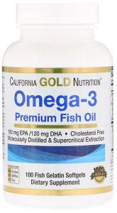 Omega-3 , Premium Fish Oil , 100 Fish Gelatin Softgels