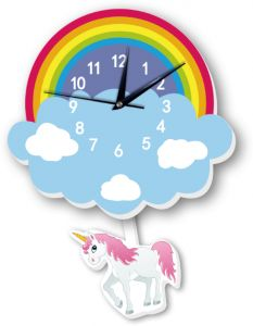 6aeaecb50 Cartoon lovely Home Decoration Accessories Wall Stickers 3D Rainbow Unicorn Wall  Clock Background Decoration For Kids Rooms Home decor mm