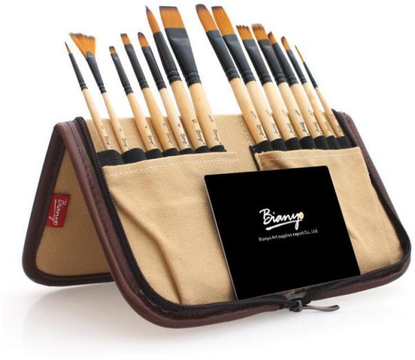14 Pieces set Oil Acrylic Paint Brush with Different models Solid Wood Watercolor Brush Nylon Hair Drawing Supplies
