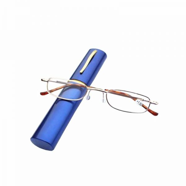 Buy Blue Folding Reading Glasses Pencil Case Portable Metal Frame ...