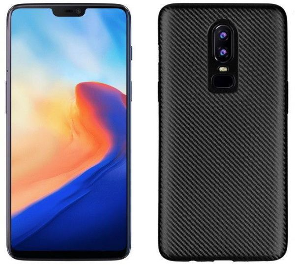 reputable site f4f38 d8473 For OnePlus 6 Carbon Fiber Nylon Pattern Hybrid Case Back Cover Protective  For-OnePlus 6