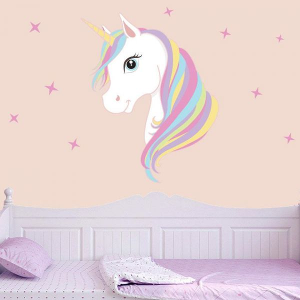 Girls Wallpaper Themed Bedroom Unicorn Stars Heart Glitter: Magic Unicorn Wall Stickers Colorful Animals Horse Stars