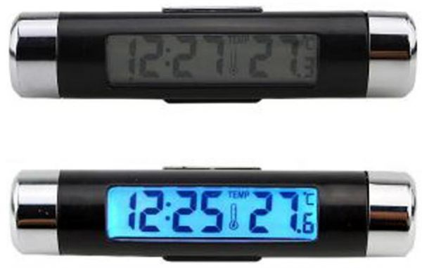 Lcd Digital Display Led Blue Backlight Car Thermometer Clock