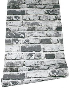 Haokhome 22073 3d Realistic Faux Brick Wallpaper Roll Black Grey White For Home Living Room Kitchen Decor 0 53m X 9 5m