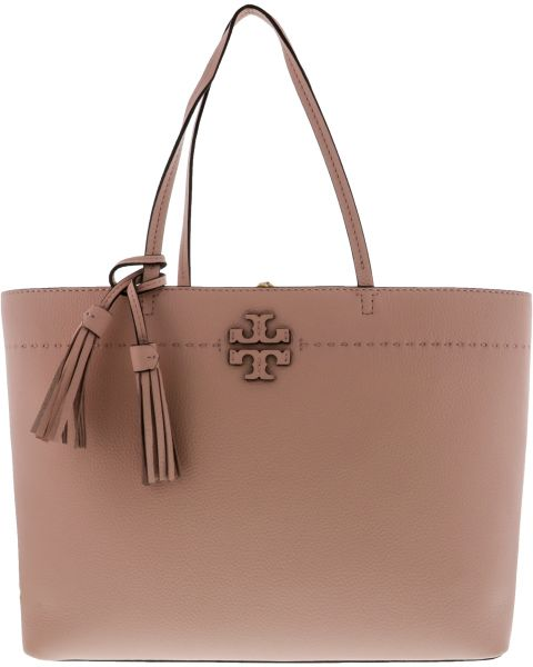 Tory Burch Mcgraw Tote Bag For Women Leather Peach