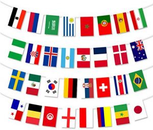 204feab90 2018 World Cup Banner 32 Country Flags Bunting 12''x 8'' for World Cup  Decorations, Fans, Bars or Sport Clubs