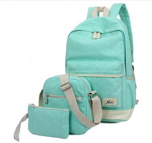 6bab2965a1 3 piece set fashion backpack canvas large capacity outdoor Blue wave point  bag