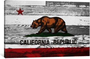 ICanvasART 1 Piece California Flag Grunge Wood Boards Canvas Print By Kane 075 18 12 Inch FLG570 1PC3 18x12