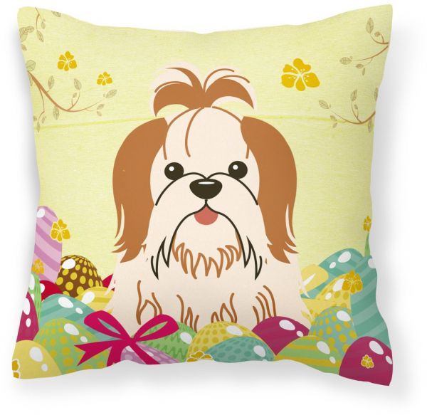 Caroline's Treasures BB40PW40 Easter Eggs Shih Tzu Red White Magnificent Shih Tzu Decorative Pillows