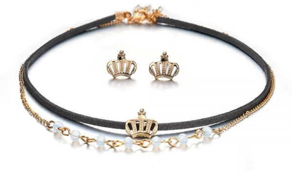 Jewelry Set Beads Crown Decoration Alloy Plating Plated Layer Pendant Necklace Earrings