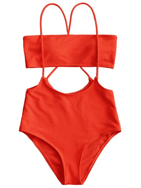 2ebe86ce75 Bandeau Top And High Waisted Slip Bikini Bottoms - Red L