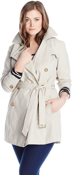 a09e083be05 Tommy Hilfiger Women s Plus-Size Trench Coat with Striped Belt