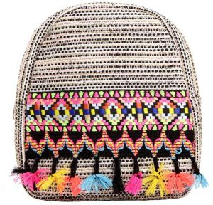 8d2d51698bb5 Bohemian Canvas Backpack Ethnic Weave Style Colorful Small Tassels Bag  Small Sequined Striped Travel Handbag for Women