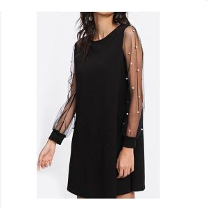 4dc5c24349e Pearl Decorative Party Mini Dress Black for women