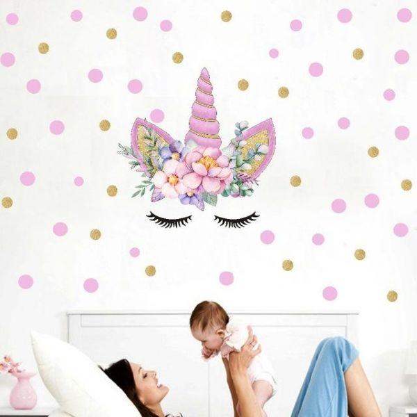 colorful flower animal unicorn wall stickers 3d horse diy art decals