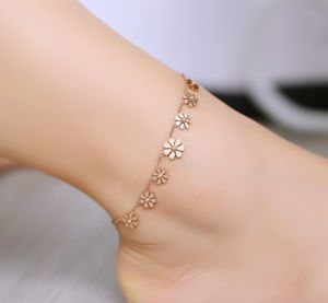 ee5d7ddd2 unflower Anklet Rose Gold Titanium Steel Anklet Bracelet Foot Jewelry  Fashion Leg Chain for Women Summer Jewelry-ek
