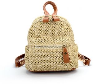 ef5bfd7fae5b Double shoulder bag lady Korea ulzzang straw bag fashion knits mini backpack  leisure travel bag female Korean version of college style fashion leisure  bag