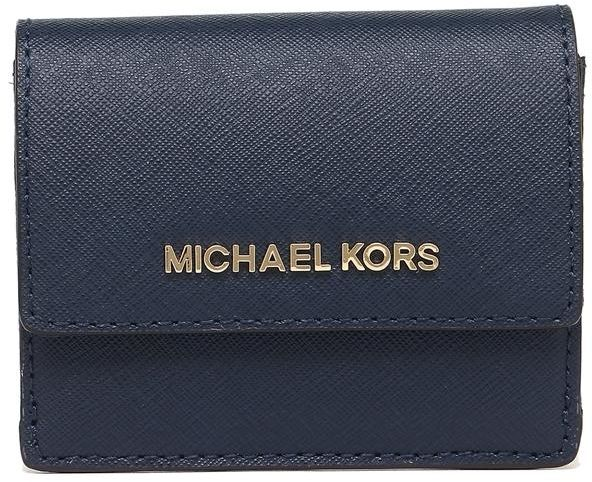 8ed3fcfaa930 Michael Kors 35F7GTVD2L jet set travel Saffiano Leather card case ID Key  holder - Navy